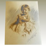 Photograph Little Girl Hand Tinted Holding Toy