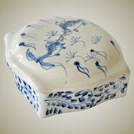 Porcelain Box Blue White with Koi Fish Chinese