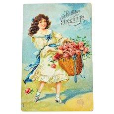 Postcard Girl Rose Basket Embossed
