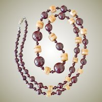 Necklace Burgundy Beads and Onyx