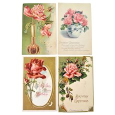 Four Postcards with Pink Roses Birthday