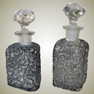 Pair Glass Decanters or Scent Bottles Large Faceted Stoppers