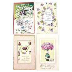 Four Floral Postcards with Violets