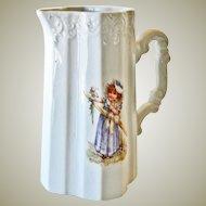 Porcelain Pitcher Little Girl Holding Flowers