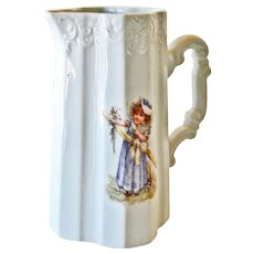 Porcelain Pitcher Little Girl Holding Flowers