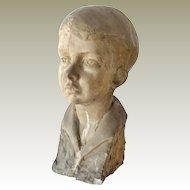 Sculpture Bust of a Young Boy M.E. Cramer