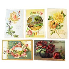 Five Embossed Postcards Roses One Silk Four German - Red Tag Sale Item