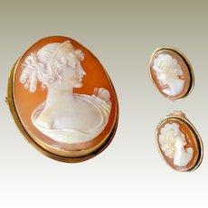 Cameo Set Pin Pendant Earrings 12k Gold