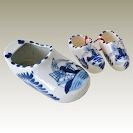 Porcelain Delft Shoe Planter and Two Miniatures Hand Painted
