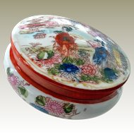 Porcelain Powder or Dresser Jar Hand Painted Japan