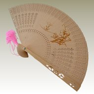 Vintage Chinese Wood Fan Scenes on Two Sides Original Box