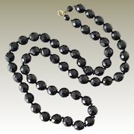Jet Black Glass Necklace 30 Inches Faceted Large Beads