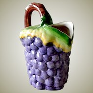 Large Pitcher Grapes Hand Painted Portugal