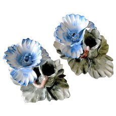 Pair Capodimonte Candle Holders Hand Painted