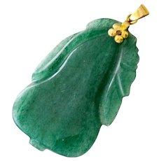 Jade Gourd Pendant 14K Gold