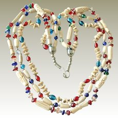 Necklace Carved Bone and Glass Three Strand Ethnic Style