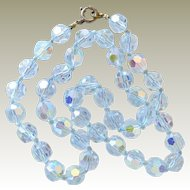 Necklace Icy Pale Blue Crystal Hand Knotted