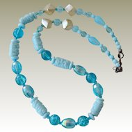 Necklace with Varied Glass Beads Blue