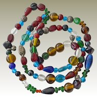 Necklace 36 Inches Variety Shape Color Glass Beads