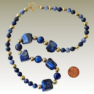 Necklace Large Lapis Chunks and Sodalite Beads