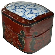Chinese Lacquer Box Porcelain Blue and White Top