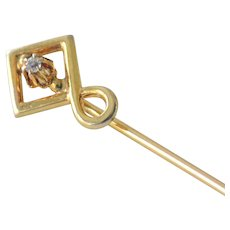 Stick Pin with Raised Diamond 14k Gold