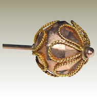 Hat or Stick Pin 14K Rose Gold Faceted End