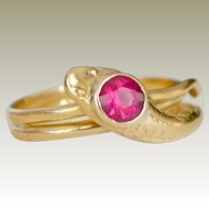 Antique Snake Ring with Ruby 18k Gold Hallmarked