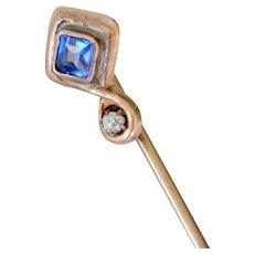 Stick Pin Tanzanite and Diamond 10K Gold Stickpin