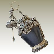 Asian Snuff Bottle Silvertone Metal with Chain