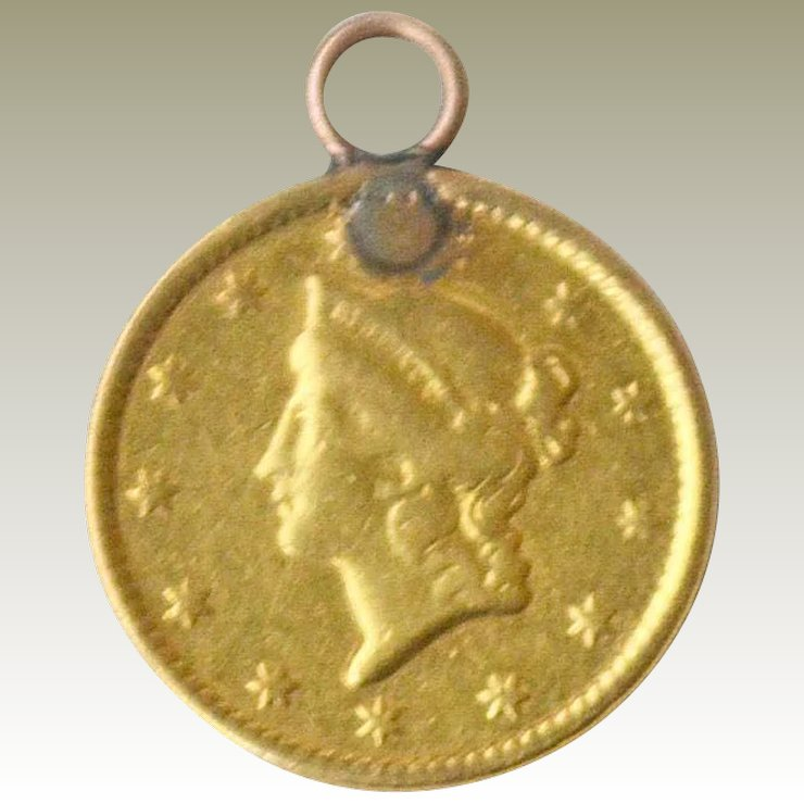 Liberty 22k 1849 gold coin pendant charm artsnends ruby lane liberty 22k 1849 gold coin pendant charm aloadofball Image collections