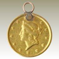 Liberty 22K 1849 Gold Coin Pendant Charm