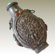 Vintage Metal Tibetan Style Snuff Bottle