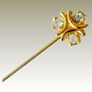Miniature Stickpin Stick Pin Gold Fill Rhinestone