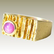 Ring 14K Gold Pink Star Sapphire 6.8 Grams