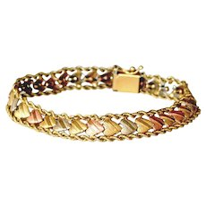 Heart Bracelet 14k Tricolor Gold White Pink Yellow