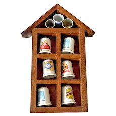 Thimble Collection in Wood House Wall Hanger