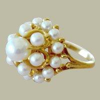 Mikimoto Pearl Tiered Ring 18K Gold 12 Grams Pristine