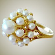 Mikimoto Pearl Tiered Ring 18K Gold 12 Grams Pristine