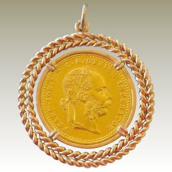 Austrian One Ducat 1915 Gold Coin Pendant