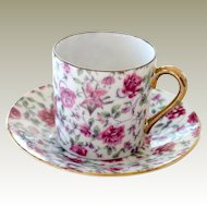 Demitasse Cup Saucer Chintz with Pink Roses