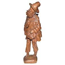 Vagabond or Hobo Carved Wood  Figurine