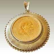 Pendant Netherlands 1876 10 Gulden .900 Gold Coin and 14 Karat Gold Bezel