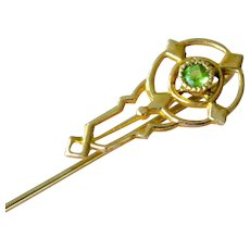 Stick Pin 10K Yellow Gold Faux Peridot Stickpin
