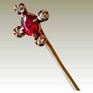 Stick Pin 14k Tourmaline and Diamonds Stickpin