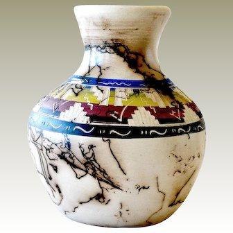 Navajo Horsehair Vase Artist Signed