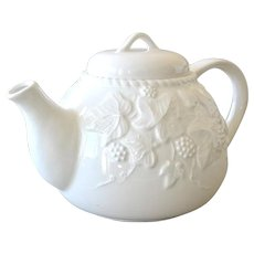 White Porcelain Teapot with Raised Ivy Leaves and Berries - Red Tag Sale Item