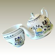 Miniature Canton Ware Teapot and Two Cups Hand Painted