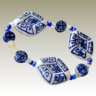 Bracelet Chinese Porcelain Blue and White Beads