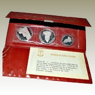 Silver Three Coin Set Republica de Guinea Ecuatorial